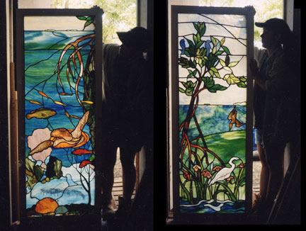 Stained glass entry way for residence